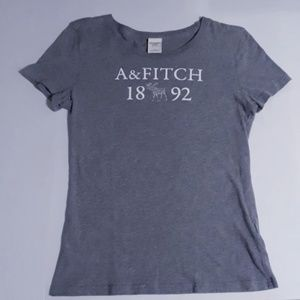 grey abercrombie & fitch logo, fitted tee, size l